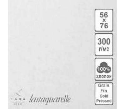 """LANA Бумага для акварели """"Lanaquarelle"""", 300 г/м², 56х76 см, 5 л, хлопок 100%, среднее зерно"""