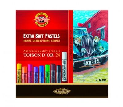 KOH-I-NOOR 8554 (24) Набор экстра мягкой художественной пастели 24 цветов  Toison D'or, круглая, в к